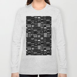 Black and White Stripes and Shapes Pattern Long Sleeve T-shirt