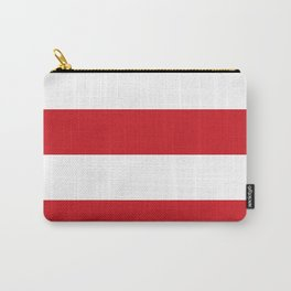 Wide Horizontal Stripes - White and Fire Engine Red Carry-All Pouch