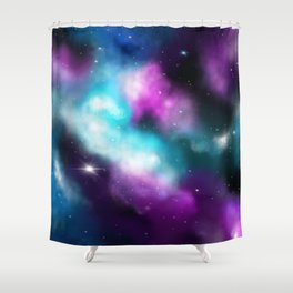 Galaxy, dreams in turquoise and violet Shower Curtain