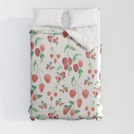 Watercolor Strawberries Duvet Cover