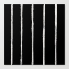 Skinny Strokes Gapped Vertical Off White on Black Canvas Print