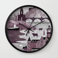 travel poster Wall Clocks featuring Edinburgh Travel Poster Illustration by ClaireIllustrations