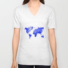 Blue watercolor world map Unisex V-Neck