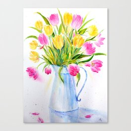 Watercolor vase of tulips Canvas Print