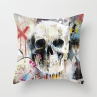 skull Throw Pillows featuring Skull by FAMOUS WHEN DEAD