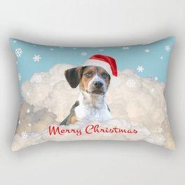 Jack Russell terrier Dog Santa Claus - Merry Christmas Winter Rectangular Pillow