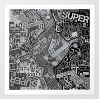 Black and White Typography Collage Art Print