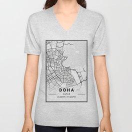Doha Light City Map Unisex V-Neck