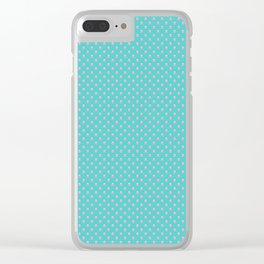 Pink Polka Dots Turquoise Clear iPhone Case