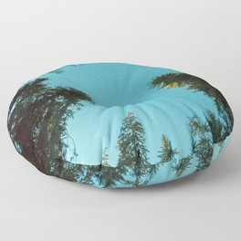 Turquoise Forest Sky Pacific Northwest Woods - Nature Photography Floor Pillow