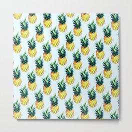 Pattern of animated pineapples Metal Print