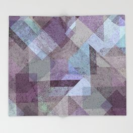PLUM TURQUOISE ABSTRACT GEOMETRIC Throw Blanket