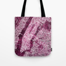Black Rose Print Showing Manhattan NYC in Peony Floral Styling Tote Bag