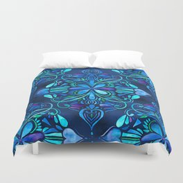 Deep Ocean Art Nouveau Watercolor Doodle Duvet Cover