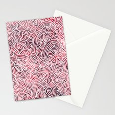 Burgundy red and white swirls doodles Stationery Cards