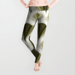Olive Green and Ivory Retro Peacock Design Pattern Leggings