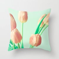 pushing daisies Throw Pillows featuring Gravity's Pushing by Caroline Mint