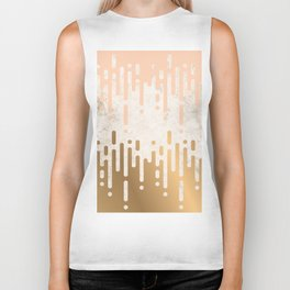 Marble and Geometric Diamond Drips, in Gold and Peach Biker Tank