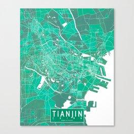 Tianjin City Map of China - Watercolor Canvas Print