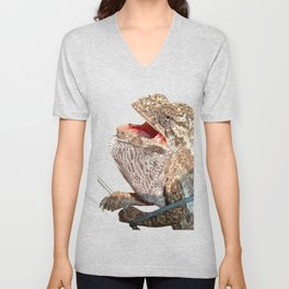 A Chameleon With Open Mouth Isolated Unisex V-Neck