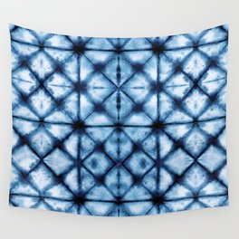 Shibori Paper Blues Wall Tapestry