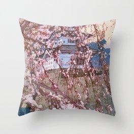 Yoshida Hiroshi - Cherry Blossoms 8scenes, Hirosaki Castle - Digital Remastered Edition Throw Pillow