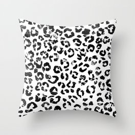 Modern black white marble stylish leopard pattern Throw Pillow