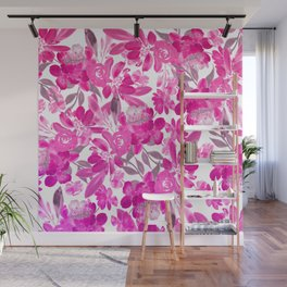 Modern white fuchsia pink purple watercolor flowers Wall Mural