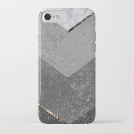 Marble Gray Copper Black Gold Chevron iPhone Case