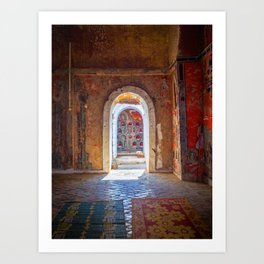 Doorway in a a colorful buddhist monastery in Nyaung Shwe, Inle Lake   Travel photography Myanmar Art Print