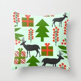 Deer and Christmas gifts Throw Pillow