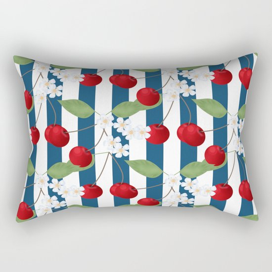 Seamless pattern with cherry and flowers on striped background Rectangular Pillow