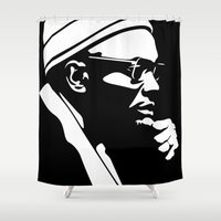 political Shower Curtains featuring Portrait Illustration of AMILCAR CABRAL Guinea-Bissau African Political Leader Black & White Minimal by KAT MECCA