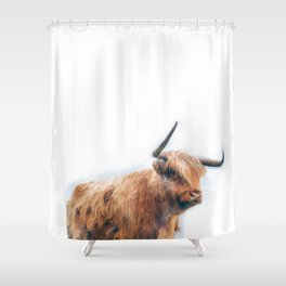 Highland Cow Watercolour Shower Curtain
