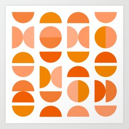 Mid Century Modern Tangerine Geometry Art Print