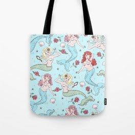 Mermaids and Roses on Aqua Tote Bag
