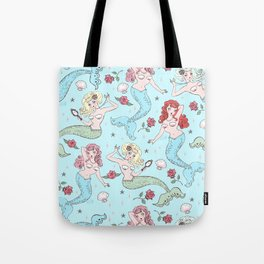 Mermaids and Roses on Aqua Tote Bag