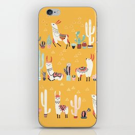 Happy llama with cactus in a pot iPhone Skin