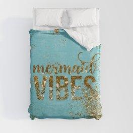 Mermaid Vibes - Gold Glitter On Teal Duvet Cover