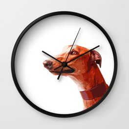 Orange Greyhound. Pop art dog portrait Wall Clock