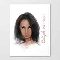 aaliyah Canvas Prints featuring Aaliyah by Tribute Portrait