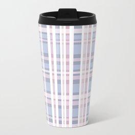 The checkered pattern . Scottish . blue , pink , white . Travel Mug