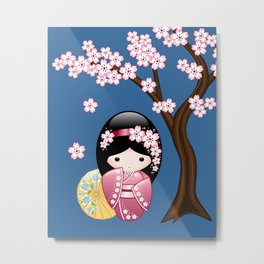 Japanese Spring Kokeshi Doll on Blue Metal Print