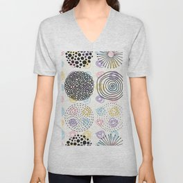 Black and colorful circles cute modern pattern Unisex V-Neck