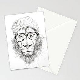 Cool lion (bw) Stationery Cards