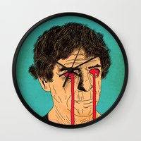 lou reed Wall Clocks featuring You, Me and Lou Reed by Roland Lefox