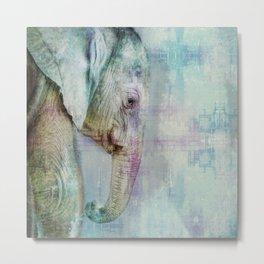 Gentle Blue Grunge Paint Elephant Digital Art Metal Print