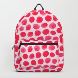 Large Red/Pink Watercolor Polka Dot Pattern Backpack