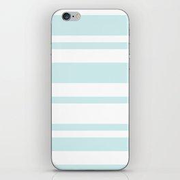 Mixed Horizontal Stripes - White and Light Cyan iPhone Skin