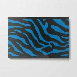 Tiger Skin Pattern Steel Blue Metal Print